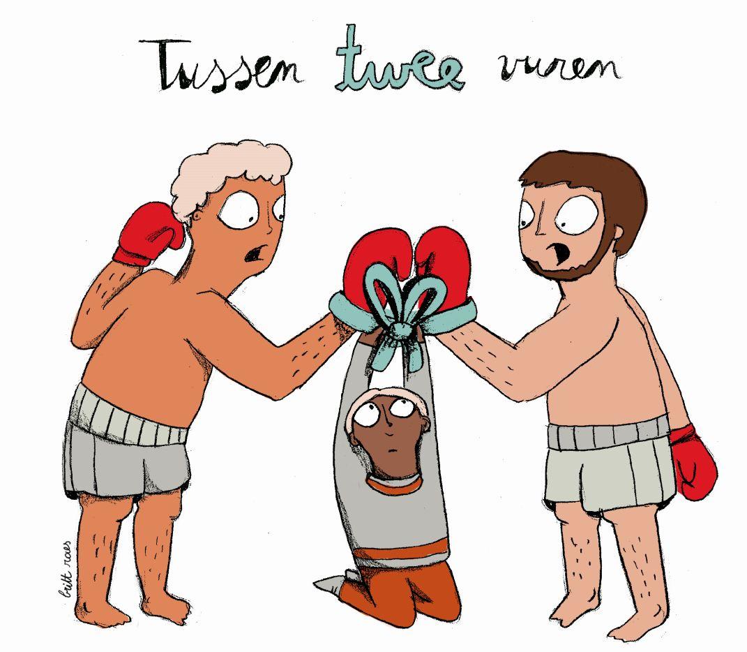 iemand die bij twee boksers de lintjes van hun handschoenen aan elkaar bindt in een strikje