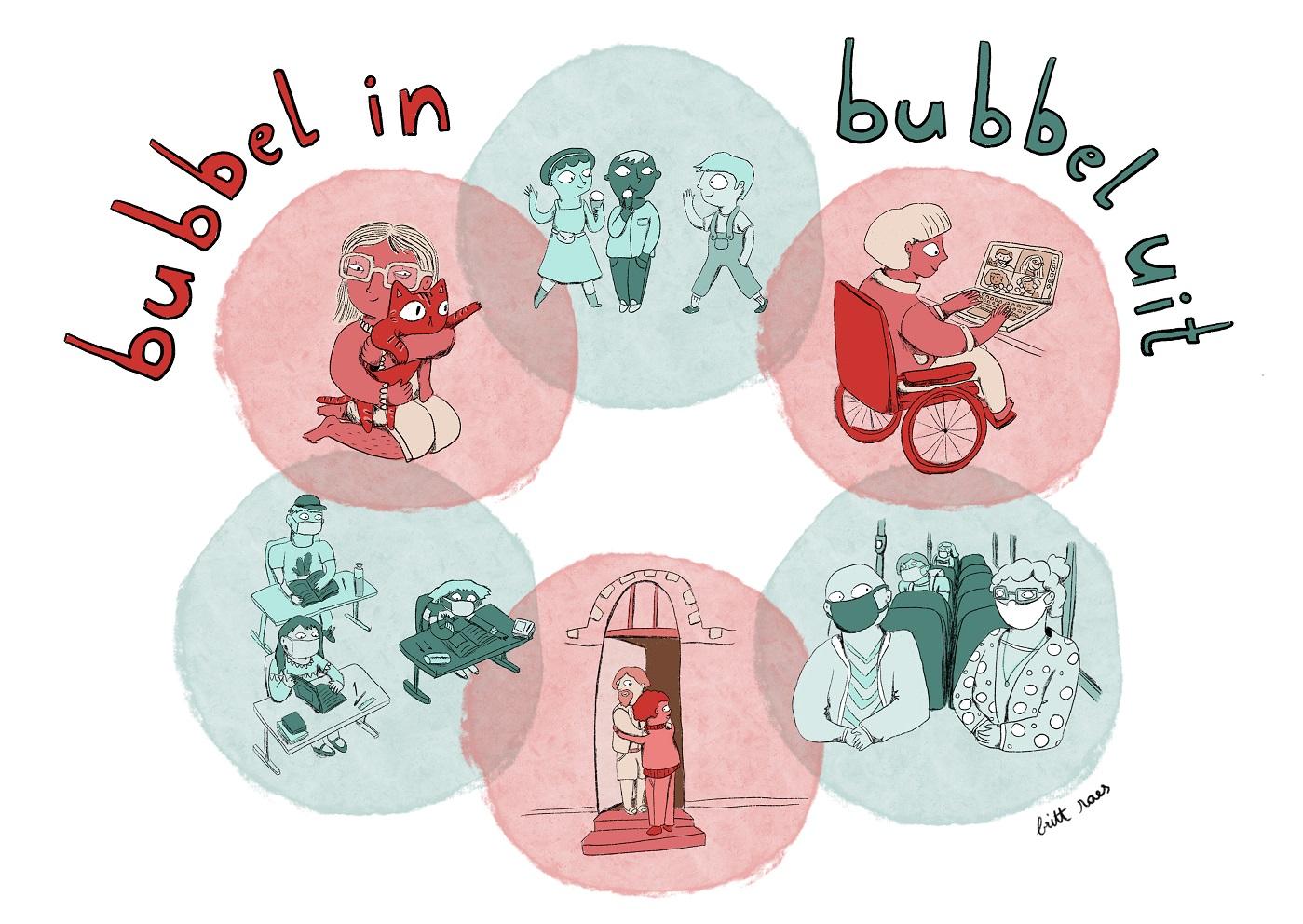 verschillende soorten coronabubbels: school werk, openbaar vervoer,...